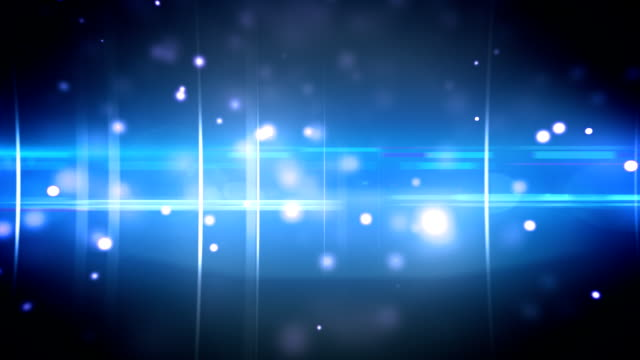 Particles and optical flares blue video