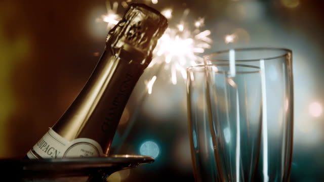 Party Feeling with Sparklers and Champagne video