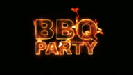 BBQ Party Text on Fire video