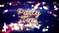 party time sparkler text and city bokeh lights video