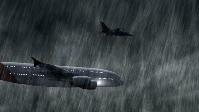 Passenger Airplane escorted by fighter jets in storm and rain - close up video
