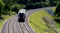Passenger suburban train on railroad video