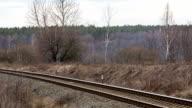 Passenger train at suburban railway. video