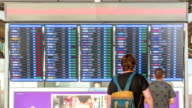 Passengers checking flights information on departure information signboard,Zoom Out video