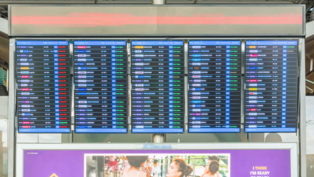 Passengers checking flights information on departure information signboard video