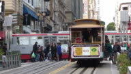Passengers riding on Powell-Hyde line cable car in San Francisco, California video