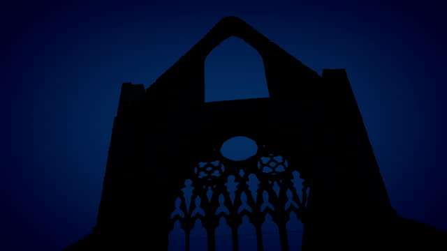 Passing Abbey Ruins At Night video