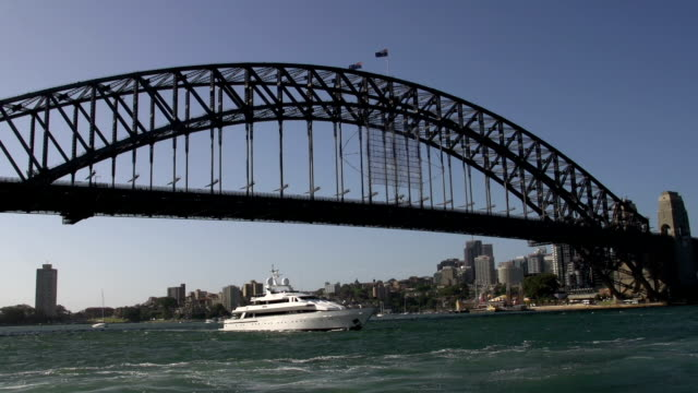 Passing by the Harbour bridge filmed from a ferry video