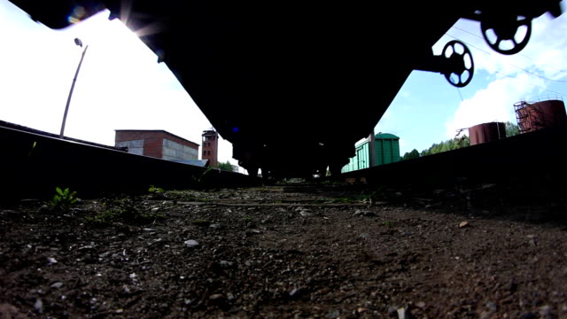Passing cargo train in industrial plant video