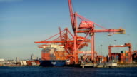 Passing Cranes and Shipping Containers at Shipyard video