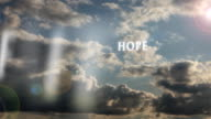Passing Faith, Hope, Love, Charity and Peace Text Across Sky video