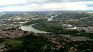 Passing Givors  - Aerial View - Rhône-Alpes, Rhône, Arrondissement de Lyon, France video