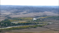 Passing Over Powder River  - Aerial View - Wyoming, Johnson County, United States video