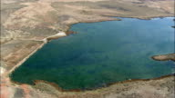 Passing Renner Reservoir  - Aerial View - Wyoming, Big Horn County, United States video