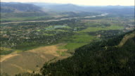 Passing the Town Of Moose Wilson Road And Wilson  - Aerial View - Wyoming,  Teton County,  helicopter filming,  aerial video,  cineflex,  establishing shot,  United States video