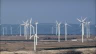 Passing through Windfarm  - Aerial View - Aragon, Saragossa, Muela, La, Spain video