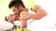 Passionate man and woman in bed video