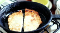 Pasties cheburek with meat fried in sunflower oil in frying pan video