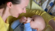 Pastime of happy mom and baby video