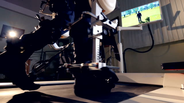 A patient going through robot-assisted rehabilitation therapy. video