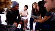Patients of group therapy talking video