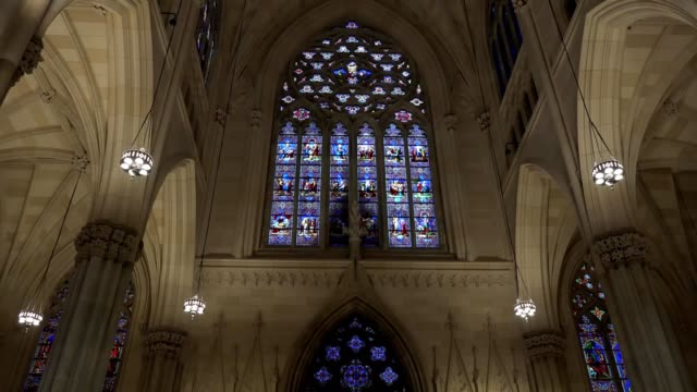 Patrick's Cathedral, the Catholic temple inside in New York, an outstanding monument of a neogothic style in New York, USA video