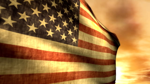 Patriotic Celebration American USA Flag Blowing Wind Sunset Freedom Independence video