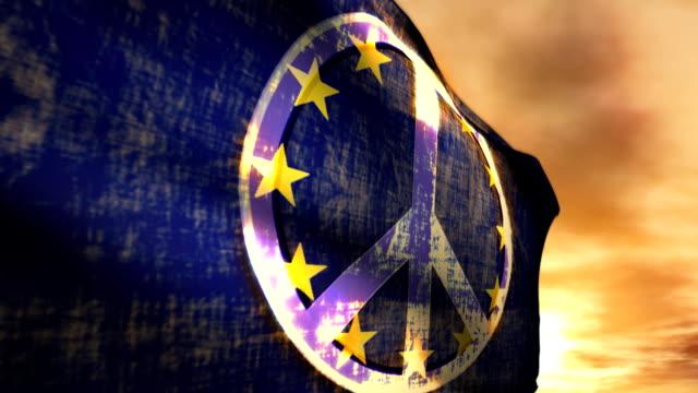 Peace Protest Symbol Sunset Couds EU European Union Flag video