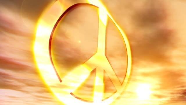 Peace Symbol Sunset Couds Nostalgic Protest Hippie Culture Animation video