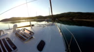 Peaceful morning on the sailing boat video