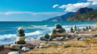 Pebble Stacks at Coastline video