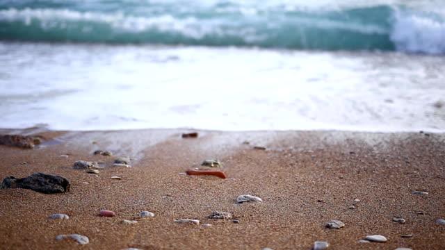 Pebbles on the beach. Texture of the sea shore. The Adriatic Sea video