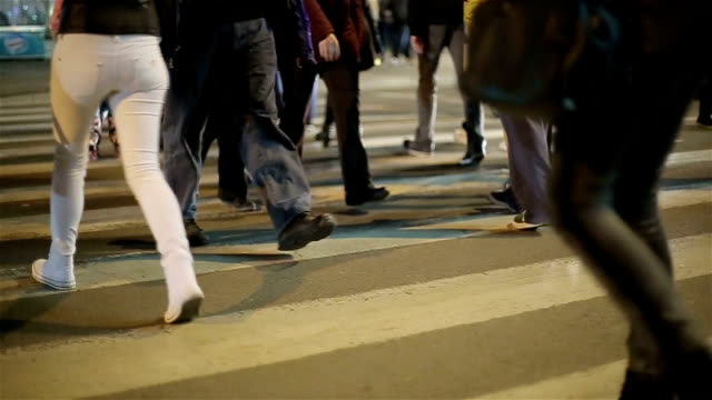 pedestrian crossing close up,night video