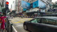 Pedestrian crossing the shopping street at tsim sha tsui Hongkong video