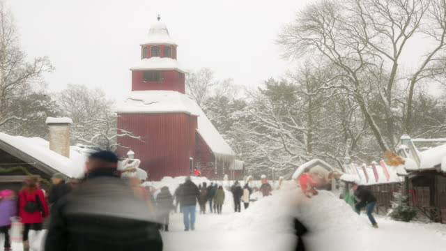 Pedestrian crowd walking to church with winter video