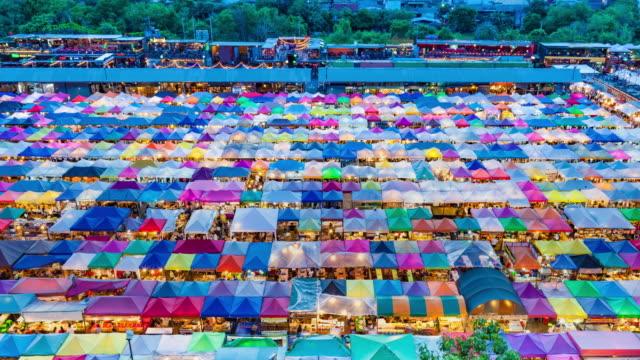 Pedestrian crowded in night market (Train Night Market Ratchada). video
