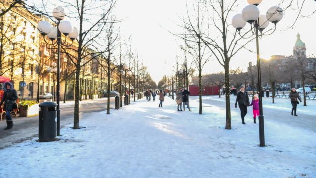 Pedestrian Crowded In The Snow At Stockholm City, Sweden video