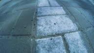 Pedestrian sidewalk in city video