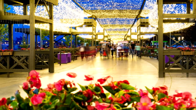 pedestrian street decorated with flower beds and beautiful lighting. Timelapse video