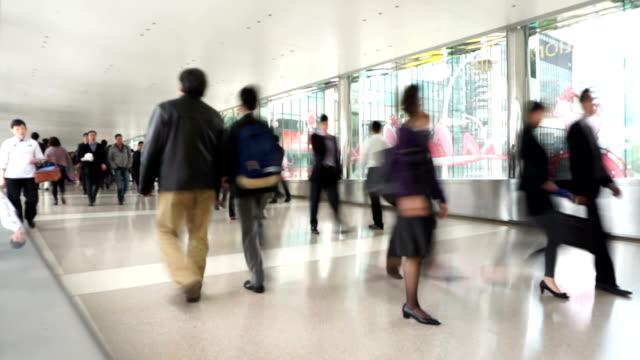 pedestrian walking on modern footpath,time lapse. video