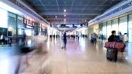 pedestrian walking on railway station interior,time lapse. video