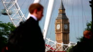 Pedestrians by Big Ben and London Eye video