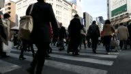 HD: Pedestrians cross at Ginza Crossing video
