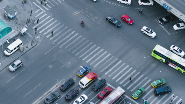 T/L WS HA PAN Pedestrians Cross the Zebra / Beijing, China video