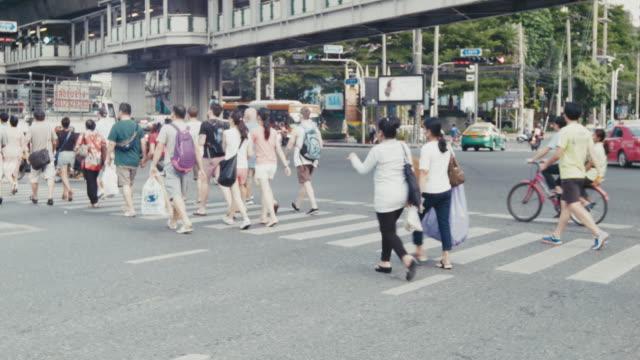 Pedestrians traffic Bangkok Thailand video