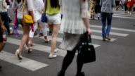 pedestrians walking at zebra crossing in urban city street,real time. video