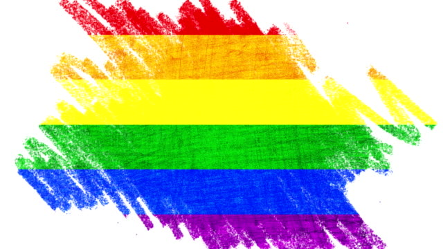 pencil animation draw colorful of civil right gay pride rainbow flag, idea fantasy, education school and peace in the world concept video