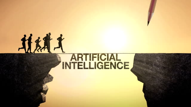 Pencil write 'Artificial Intelligence', Businessman crossing the cliff video