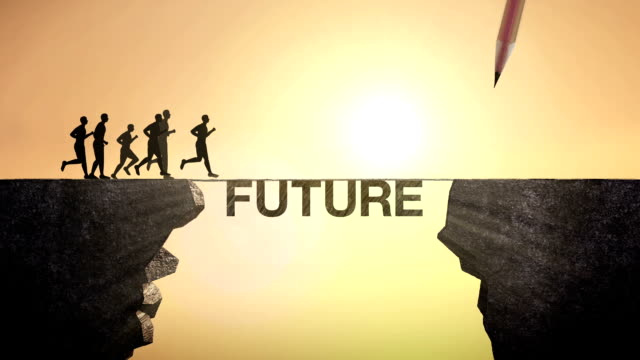 Pencil write 'FUTURE', connecting the cliff. Businessman crossing the cliff. video