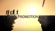 Pencil write 'PROMOTION', connecting the cliff. Businessman crossing the cliff. video